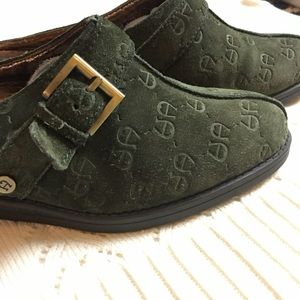 "AIGNER 7 1/2M Embossed Suede Green Mules ""Fontana"""